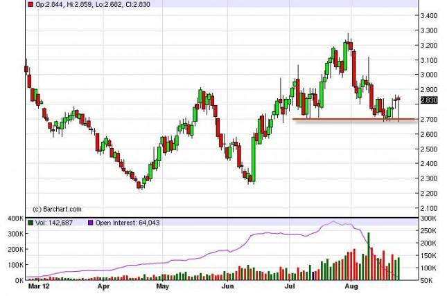Natural Gas Forecast August 24, 2012, Technical Analysis